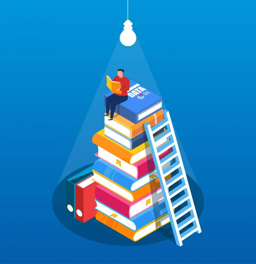 Artwork of a man sitting on a stack of books under a light bulb.
